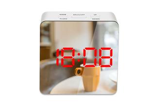 Mirror Alarm Clock Multifunctional Silent Led Digital Alarm Clock Red Square