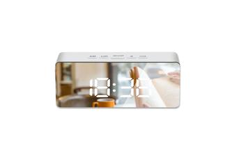 Mirror Alarm Clock Multifunctional Silent Led Digital Alarm Clock White Rectangle