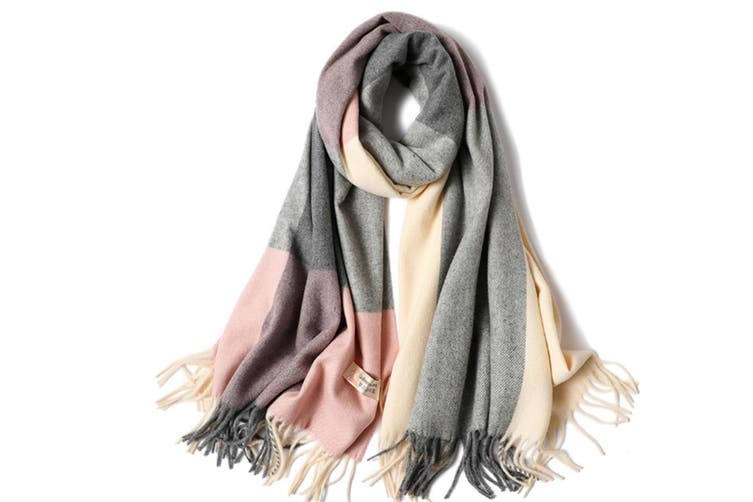 Ladies'Classic Checked Scarf With Thicker Fringed Shawl - 1 Grey 200CmX70Cm