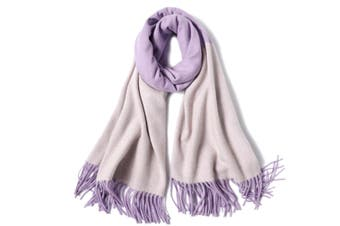 Ladies'Classic Checked Scarf With Thicker Fringed Shawl - 11 Purple 200CmX70Cm