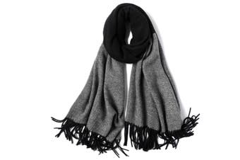Ladies'Classic Checked Scarf With Thicker Fringed Shawl - 12 Black 200CmX70Cm