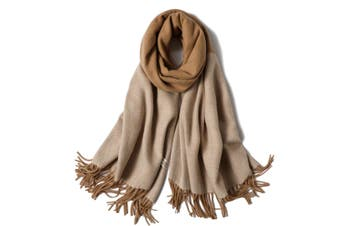 Ladies'Classic Checked Scarf With Thicker Fringed Shawl - 5 Brown 200CmX70Cm