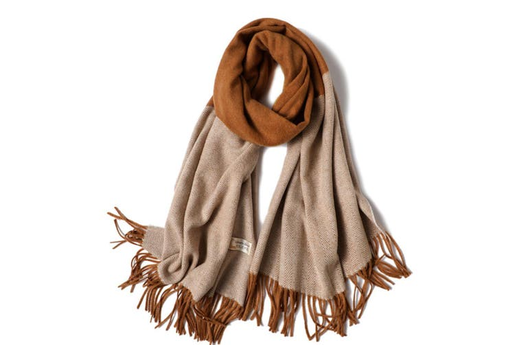 Ladies'Classic Checked Scarf With Thicker Fringed Shawl - 7 Brown 200CmX70Cm