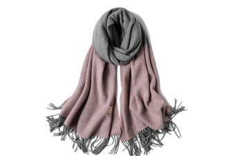 Ladies'Classic Checked Scarf With Thicker Fringed Shawl - 8 Purple 200CmX70Cm