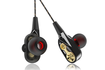 Mobile Phone Headphones Four-Core In-Ear Bass Wired Headphones Black Gold