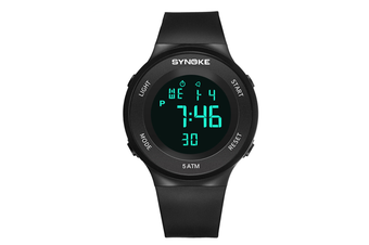 Men'S Sports Electronic Watch Student Waterproof Led Night Light Watch Black
