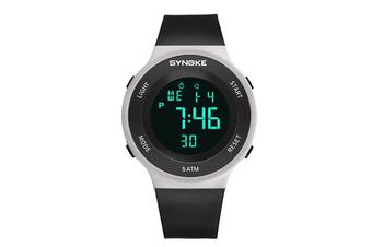 Men'S Sports Electronic Watch Student Waterproof Led Night Light Watch Black White