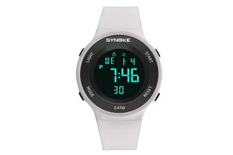 Men'S Sports Electronic Watch Student Waterproof Led Night Light Watch White