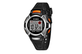 Children'S Watch Nightlight Waterproof Sports Electronic Watch Black