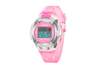 Children'S Watch Nightlight Waterproof Sports Electronic Watch Pink