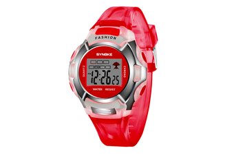 Children'S Watch Nightlight Waterproof Sports Electronic Watch Red