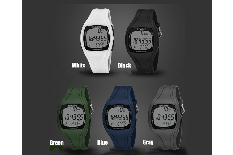 3D Stepping Electronic Watch Motion Time Recording Waterproof Watch Black