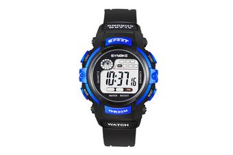 Children'S Electronic Watch Nightlight Waterproof Sports Watch Black Blue