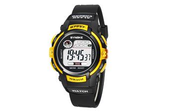 Children'S Electronic Watch Nightlight Waterproof Sports Watch Black Gold