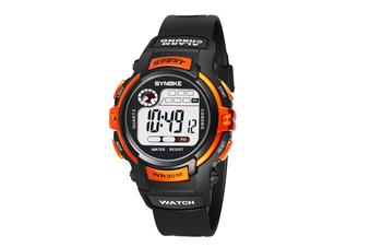 Children'S Electronic Watch Nightlight Waterproof Sports Watch Black Orange