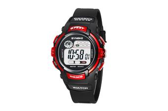 Children'S Electronic Watch Nightlight Waterproof Sports Watch Black Red