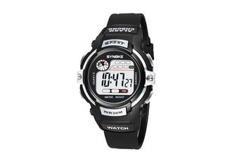 Children'S Electronic Watch Nightlight Waterproof Sports Watch Black SILVER