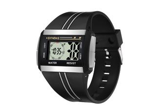 Men'S Square Watch Multifunctional Waterproof Night Light Watch Black