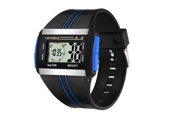 Men'S Square Watch Multifunctional Waterproof Night Light Watch Blue