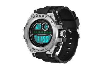 Men'S Watch Fashion Waterproof Multifunctional Student Electronic Watch Silver