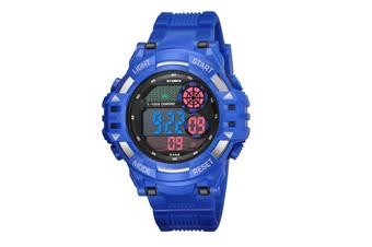 Men'S Watch Fashion Waterproof Multifunctional Student Electronic Watch Blue