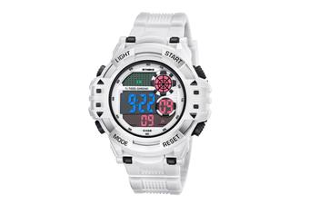 Men'S Watch Fashion Waterproof Multifunctional Student Electronic Watch White