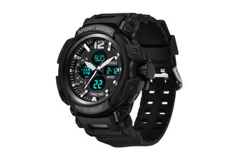 Men'S Sports Watch Multifunctional Waterproof Electronic Watch Black