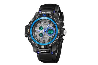 Student'S Electronic Watch Sports Waterproof Digital Watch Black Blue