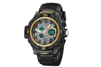 Student'S Electronic Watch Sports Waterproof Digital Watch Black Gold