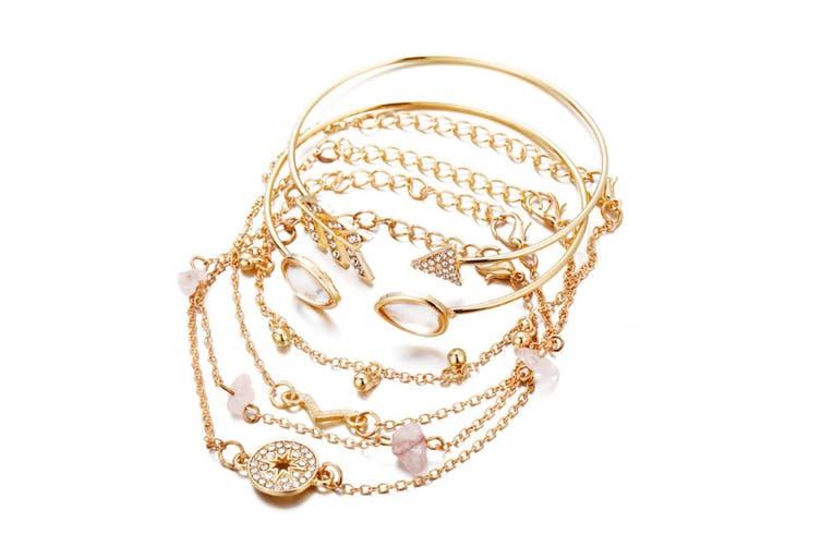6Pcs Compass-Type Open V-Type Bracelet Of Various Styles Gold