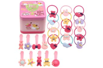 30Pcs Children'S Hair Jewelry Rope Combination Suit Leather Band Cartoon Hairpin - 1 Pink