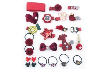 24Pcs Children'S Hair Ornament Set Girl'S Butterfly Tie Cartoon Clip Headdress Set - B Red