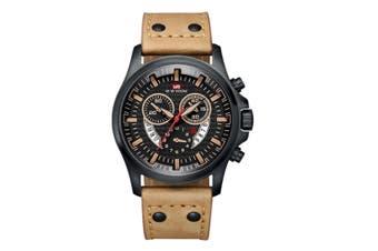 WJS Fashion Multi-function Sports Belt Watch Creative Calendar Waterproof Watch Quartz Watch Suitable for Men-1