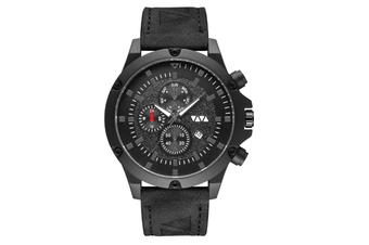 WJS Fashion Multi-function V-belt Waterproof Calendar Quartz Watch Large Round Table Suitable for Men-Black