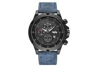 WJS Fashion Multi-function V-belt Waterproof Calendar Quartz Watch Large Round Table Suitable for Men-Blue