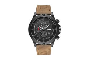 WJS Fashion Multi-function V-belt Waterproof Calendar Quartz Watch Large Round Table Suitable for Men-Brown