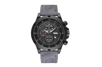 WJS Fashion Multi-function V-belt Waterproof Calendar Quartz Watch Large Round Table Suitable for Men-Grey