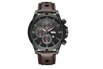 WJS Fashion Multi-function Sports Calendar Quartz Watch Large Round Hole Breathable Belt Watch for Men-1