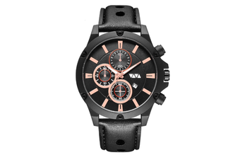 WJS Fashion Multi-function Sports Calendar Quartz Watch Large Round Hole Breathable Belt Watch for Men-2