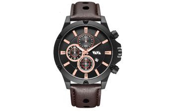 WJS Fashion Multi-function Sports Calendar Quartz Watch Large Round Hole Breathable Belt Watch for Men-3