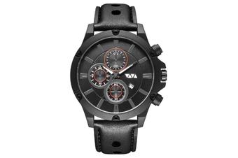 WJS Fashion Multi-function Sports Calendar Quartz Watch Large Round Hole Breathable Belt Watch for Men-4