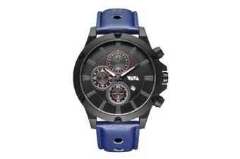 WJS Fashion Multi-function Sports Calendar Quartz Watch Large Round Hole Breathable Belt Watch for Men-5