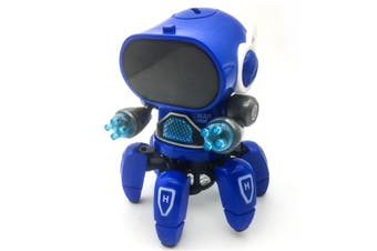 WJS Creative Dance Electric Six-claw Robot Infrared Sensor Can Be Illuminated Music Toys Suitable for Children-Blue