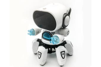 WJS Creative Dance Electric Six-claw Robot Infrared Sensor Can Be Illuminated Music Toys Suitable for Children-White