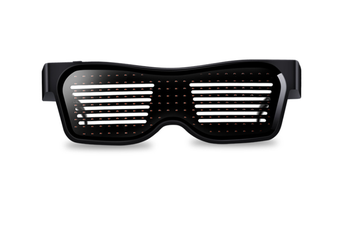 WJS Rechargeable Bluetooth Glowing Glasses Dynamic APP Glowing Glasses USB Suitable for Christmas Bar Party-Red