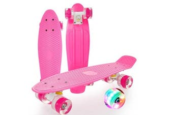WJS Complete 22inches Skateboard for Beginners Kids Girls Boys Skateboard Plastic Banana Board with Colorful LED Wheels-Pink