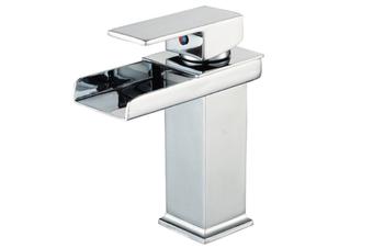 WJS Bathroom Countertop Basin Faucet Basin Faucet Square Sink Waterfall Faucet Bathroom Sink Faucet