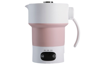WJS Travel Portable Electric Kettle Foldable Kettle Constant Temperature Mini Insulation Pot Adjustable Temperature-Pink