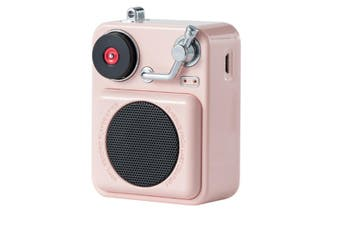 WJS Portable Wireless Bluetooth Audio Record CD Player Multi-function Mini Player Music Player Small Steel Cannon-Pink