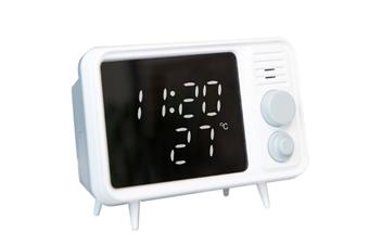 WJS Bluetooth Retro TV Alarm Clock Mirror Clock Bedside Multifunction Clock With Table Lamp Shows Temperature-Grey
